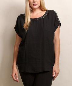 Look what I found on #zulily! Black Embellished Scoop Neck Top - Plus #zulilyfinds