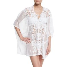 Miguelina Kara Hibiscus Netted-Lace Caftan Coverup ($450) ❤ liked on Polyvore featuring tops, tunics, pure white, sweater pullover, lace top, white lace tunic, 3/4 sleeve tunic and white sheer top