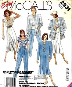 McCall's 2931 Misses Easy Unlined Jacket, Top, Fluted Skirt And Pants Pattern, Sizes 10 & 12, UNCUT by DawnsDesignBoutique on Etsy