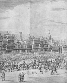 Cheapside 1639. The church depicted top right is probably St. Peter's Church, at the NW corner of Wood Street.