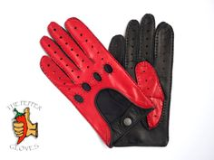 Keep your leg on the throttle and the focus on the road. The SPEED RACER will do the rest for you. Men's deerskin leather  driving gloves size 10 - SPEED RACER - BLACK & RED #ThePepperGloves #DrivingGloves