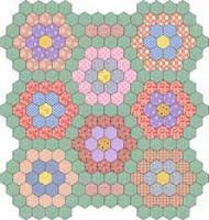 Grandma's garden quilt, one of the oldest quilt patterns. Very popular in the 1020's and 30's. I own one of these that was made by my great, great grandmother around the year 1908. The quilt was given to my grandfather for his 9th birthday. The colors are still bright and beautiful. My quilt has the colors of reds,  blues, greens, and yellow, but looks like this one.