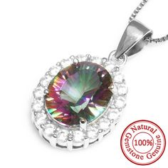2.5ct Rainbow Fire Mystic Topaz Pendant Necklace