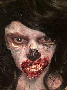 Zombie using prosthetics,makeup by me Horror Makeup, Halloween Makeup Looks, Scary Makeup, Halloween Makeup