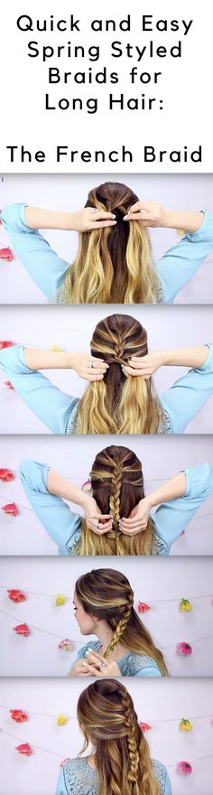 YouTuber, Kayley Melissa gives a great tutorial on three quick and easy spring styled braids for long hair, and it's beyond perfect! The best part is that these braids take only a couple minutes or less to do, and will look good on curly, straight or even wavy hair. Messy Braids, Braids For Long Hair, Wavy Hair, Kayley Melissa, Hair Tattoos, French Braid, Hair Tutorials, Braid Styles, Updos