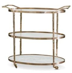 Vineyard Hollywood Regency 3 Shelf Brass Bar Cart | STA-8.82047