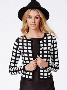 Fashion Long Sleeve Black White Plaid Short Cardigan Jacket