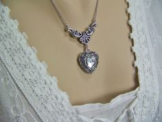 Crystal Heart Necklace Angel Wings Frame by CreatedinTheWoods, $26.95
