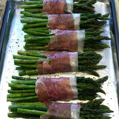Yummy! Made for Easter dinner and so easy! Olive oil, pepper and salt. Wrap in prosciutto and bake 400 degrees for 12min