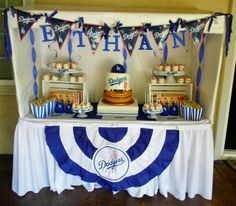 Terriann A's Birthday / Sports - Ethan's Dodgers Baseball Party at Catch My Party Baseball Theme Birthday, Sports Birthday, Baseball Party, Baseball Crafts, 55th Birthday, Birthday Bash, Dodgers Party, Dodgers Baseball, Thomas Birthday Parties