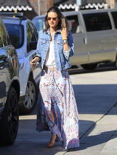 Boho Babe: Alessandra Ambrosio's Maxi Skirt and Huarache Flats Look for Less