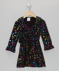 Take a look at this Black Shimmer Heart Surplice Dress - Toddler & Girls by S.W.A.K.: Dresses on @zulily today!