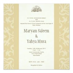 Shop Islamic beige bismillah wedding invitation card created by Cammily. Personalize it with photos & text or purchase as is! Wedding Card Wordings, Wedding Invitation Cards, Zazzle Invitations, Wedding Cards, Diy Wedding, Trendy Wedding, Beige Wedding, Wedding Colors, Floral Wedding