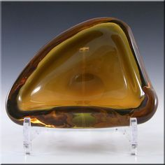 Murano 1950's Biomorphic Amber Glass Sculpture Bowl - £19.99