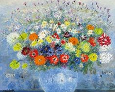 Michele Cascella - Vase of Flowers, Oil on canvas