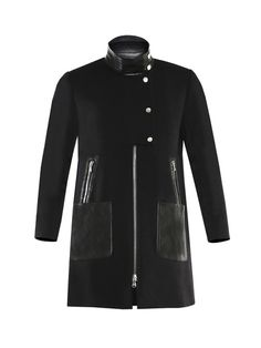 Textured mod collarless coat with removable Black Lambskin Leather moto dickey.2-way zip at front with partial snap button placket. Front pockets. Lined.Made in USA. Professional dry clean only. Compatible with all Veronica Beard dickeys, but not dickey cuff applicable.The return of this item is eligible for store credit only.