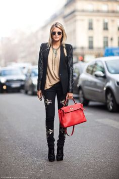 Tuesday Ten: November Style Ideas. Pull out your patterned jeans and leather. A classic leather jacket goes nicely with a fun pair of patterned jeans. Just keep your color scheme on the darker side and unified overall. If you need to add a little spice to the mix, wear a colored purse or bright shoes for a twist.