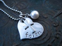 Hand Stamped Jewelry - Faith Necklace - Religious Necklace - Personalized Jewelry - Family Jewelry. $23.00, via Etsy.