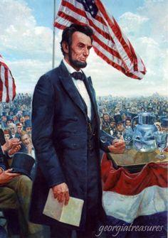 Mort-Kunstler-Civil-War-The-Gettysburg-Address-Abraham-Lincoln-Jumbo-Chrome