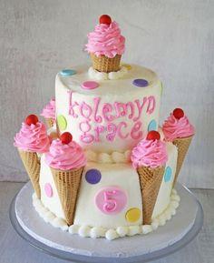 Ice Cream Cones Birthday Cake with Polka Dots and Cherries (Cream Cake Design) Ice Cream Cone Cake, Ice Cream Party, Cream Cake, Cake Cone, Gateau Iga, Mini Cakes, Cupcake Cakes, Shoe Cakes, Candy Cakes
