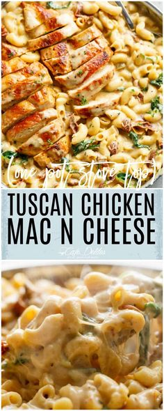 Tuscan Chicken Mac And Cheese is a ONE POT dinner made on th. - Food RecipesTuscan Chicken Mac And Cheese is a ONE POT dinner made on the stove top, in less than 30 minutes! It will be hard to go back to regular Mac and Cheese! New Recipes, Cooking Recipes, Healthy Recipes, Skillet Recipes, Recipies, Pasta Recipes For A Crowd, Pizza Recipes, Good Recipes For Dinner, Simple Meals For Dinner