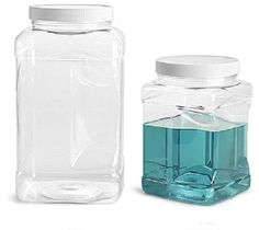2- 1/2 Gallon Plastic Clear PET Square Wide Mouth Jars w/ White PE Lined Caps #Unbranded