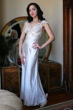 30s Vintage Bozart Couture Satin Nightgown