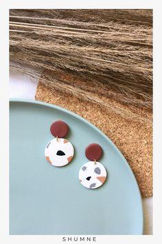 Handmade Polymer Clay Stud Earrings Handmade Polymer Clay, Polymer Clay Earrings, Soft Fabrics, Earrings Handmade, Jewelry Making, Unique Jewelry, Stud Earrings, Hand Painted, How To Make