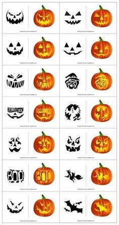 Scary Pumpkin Carving Patterns, Cute Pumpkin Carving, Halloween Pumpkin Carving Stencils, Halloween Pumpkin Designs, Scary Halloween Pumpkins, Halloween Patterns, Halloween Halloween, Pumpkins Carving Stencils, Halloween Design