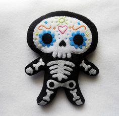 felt skull pin
