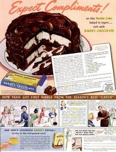 Bakers Chocolate Marble Cake-now it does have small print but you can zoom in for the full recipe. Retro Recipes, Old Recipes, Cookbook Recipes, Vintage Recipes, Baking Recipes, Chocolate Marble Cake, Bakers Chocolate, Chocolate Chocolate, Chocolate Frosting