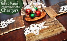 Pallet Wood Snowflake Table Chargers | AllFreeHolidayCrafts.com