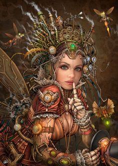 Silence Please - Steampunk Fairy by DarkAkelarre - great work http://www.randallchambers.com