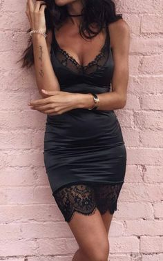 Spaghetti Strap Lace Panel Bodycon Mini Dress