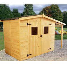 Abri de jardin en panneaux en bois brut 3.7m² + bûcher 2.08m² + plancher, 16mm - Maison Facile : www.maison-facile.com