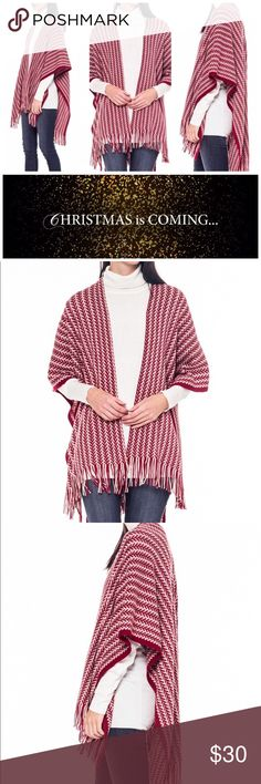 """✨12/5 HP✨New! Woven Fringe Trim Poncho (Red) NWT! Woven Fringe Trim Poncho"""" -By Bellino Clothing MSRP : $37 (Make an offer💸) 100% ACRYLIC Made in USA Bellino Clothing Sweaters Shrugs & Ponchos"""