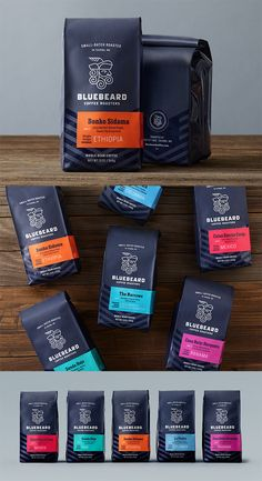 Envases · Packaging Bluebeard Coffee Roasters by Partly Sunny What Is Difficult Child Behaviour? Spices Packaging, Cool Packaging, Food Packaging Design, Coffee Packaging, Packaging Design Inspiration, Brand Packaging, Bottle Packaging, Product Packaging, Product Labels