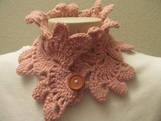 Women Pink Neck Scarf COwl with Button USA Seller by zahraknitting