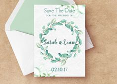 Eucalyptus Wedding Save The Date, Save The Date PDF, Save The Date Watercolor, Printable Save The Date, Save The Date Digital File by SeptemberCreationsAE on Etsy