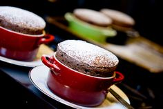 Another classic - the chocolate souffle with Grand Marnier Creme Anglaise Chocolate Treats, Best Chocolate, Delicious Chocolate, Chocolate Fudge, Sweet Desserts, Delicious Desserts, Dessert Recipes, Souffle Recipes, Chocolate Souffle