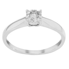 "Bliss by Damiani ""Illusion"" 18k White Gold & 0.17 Cttw Diamonds Engagement Ring"