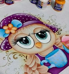 #pinturadecorativa Tole Painting, Fabric Painting, Beautiful Owl, Owl Patterns, Daily Drawing, Learn To Paint, Big Eyes, Easy Drawings, Spring Flowers