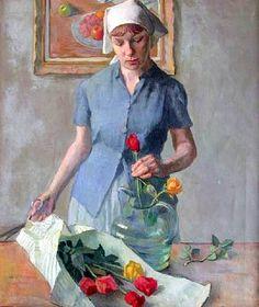 Robert Brackman - Persephone and Flowers.