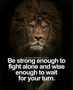 Be strong enough to fight alone and wise enough to wait for your turn.