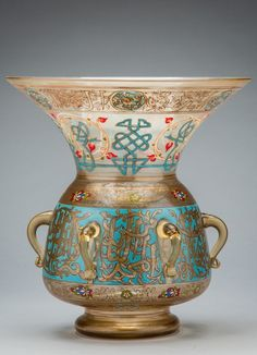 Ottoman revival clear glass gilt and enamelled mosque lamp
