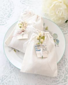 L. Katherine Roberts added a small flower detail, a tag, and text to a muslin bag with stunning results. | Somerset Life