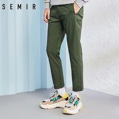 buy online 51f8a cbc03 SEMIR pantalones hombres negro delgado de moda chic Pantalones Hombre  sólido Pantalones Casual clásico.