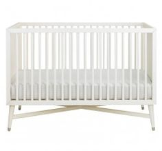 Mid-Century Dwell Studio Crib in White - this crib would be a great addition to a mid century modern inspired nursery. Cottage Furniture, Nursery Furniture, Modern Furniture, Farmhouse Furniture, Kids Furniture, Contemporary Cribs, Modern Crib, Nursery Design, Baby Design