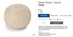 Need this I think.  Kmart Ottoman