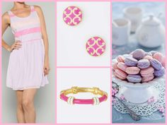 Cinnaryn French Macaron Stripe Chiffon Dress in Lilac Fornash Regatta Bracelet Joy Filigree Earrings